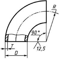Отвод 76х3,5 стальной 90 градусов ГОСТ 17375