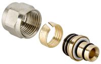 Концовка соединитель для м/п труб 16 х 1/2 никель Vt710