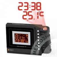 Метеостанция погодная проекционная (метеочасы) (радиодатчик, часы, календарь, термометр) настольный, цвет черный