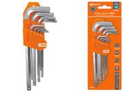 Набор ключей HEX 9 шт.: 1.510 мм, длинные с шаром, (держатель в блистере), CRV сталь Алмаз TDМ
