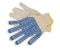 Перчатки 6 нитка х/б с ПВХ (протектор) белые, повышеной плотности 7.5 класс вязки