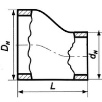 Переход эксцентрический нержавеющий 57х3,5-45х2,5 12х18н10т ГОСТ 17378