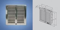 Решетка вентиляционная с монтажной рамой и сеткой нержавейка 250x250 мм