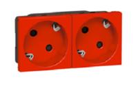 Розетка электрическая с заземляющим контактом двойная под углом 45гр (красный)