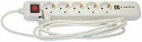 Сетевой фильтр 5 розеток, 3 м, белый, 2 разъема USB