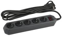 Сетевой фильтр 5 розеток 3м. черный с заземл, 3x0,75мм2, с выкл.