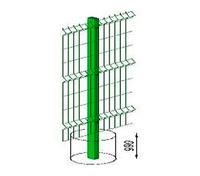 Столб L=2,0м 60*40 ПП RAL6005 с пластиковой крышкой и креплением