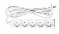 Удлинитель 5 розеток без з/к, 3 м, белый, без выключателя