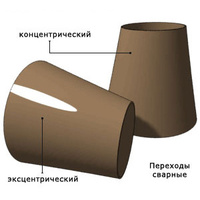 Переход стальной концентрический 630х12-133х6